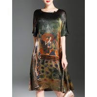 Women YZL Studio Multicolor Midi Dress Going out Half Sleeve Printed Dress 1AMI1P47AD TTGZAXQ