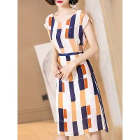 Women YZL Studio Multicolor Midi Dress Short Sleeve Printed Dress 1IMI5L9E1C PQGICRC