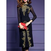 Women YZL Studio Stand Collar Black Midi Dress Sheath Daytime Long Sleeve Embroidered Dress 1JMI122752 HUDWURU