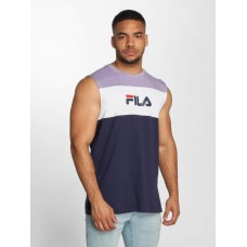 FILA Men Tank Tops Level in blue ribbed crew neck 682206003 NTOUFFG