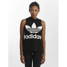 adidas originals Women Tank Tops Trefoil in black Black Main material: 95% cotton 5% spandex Rib insert: 100% cotton high-necked ribbed crew neck CE5578 QDNSOGG