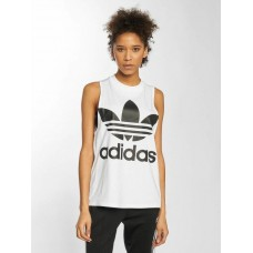adidas originals Women Tank Tops Trefoil in white white / black 95% cotton 5% spandex Rib insert: 100% cotton high-necked ribbed crew neck CE5580 TIGJICO