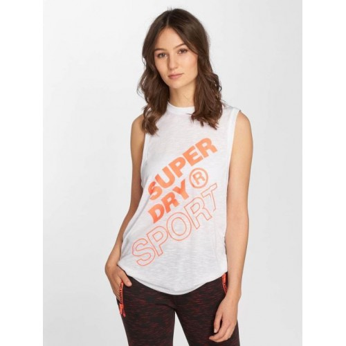 Superdry white / orange 70% polyester 30% cotton Round neckline with fine rib-knit collar GS3189PQ04C HDVIRZJ