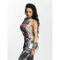 Yakuza Women Tank Tops Can't Break Knot Back in grey ribbed crew neck GSB11132LGRYM NMVKXST