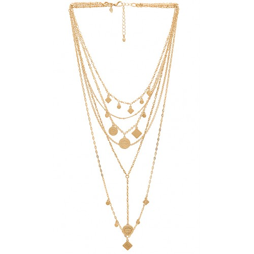 Rebecca Minkoff Etched Charm Statement Necklace im Gold Layerstyling Etched charms RMIN-WL340 HBSJKZT
