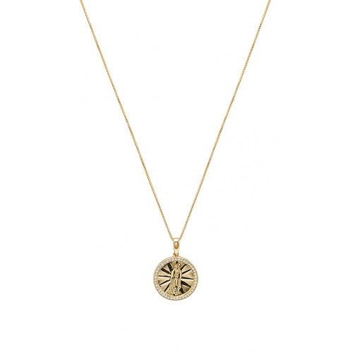The M Jewelers NY The Pave Circle Guadalupe Pendant Necklace im Gold Etched pendant with crystal accents Karabinerverschluss TSNR-WL30 BHUHIQE