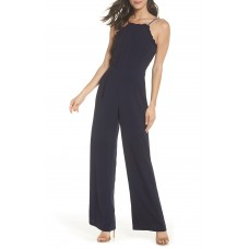 Women Apron Style Jumpsuit Comfortable and elegant Navy KJXQMTE