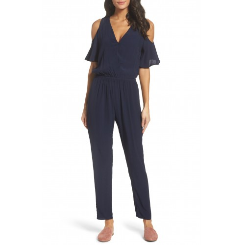 Women Cold Shoulder Jumpsuit Comfortable and elegant Navy RYYKLLP