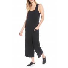 Women Crop Jersey Jumpsuit Comfortable and elegant Black UQMYDCP