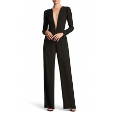 Women Drew Plunging Illusion Jumpsuit Comfortable and elegant Black FZECAKD