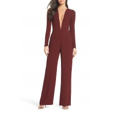 Women Drew Plunging Illusion Jumpsuit Comfortable and elegant Burgundy MCLVWIE