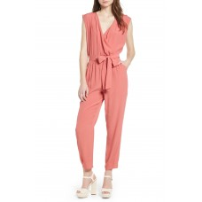 Women Faux Wrap Jumpsuit Comfortable and elegant Coral Faded QUFVMFC