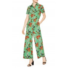 Women Floral Jumpsuit Comfortable and elegant Noir CQGUYTY