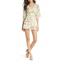 Women Fresh Blooms Cutout Romper Comfortable and elegant Botanical Floral HOZVBTR