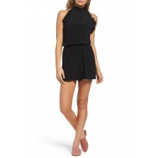 Women Frill Halter Romper Comfortable and elegant Black YGUSEIJ