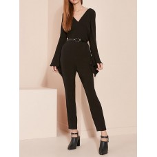 Women HOLA SARA Black V neck Solid Long Sleeve Asymmetric Jumpsuit 95% Polyester 5% Spandex 1MJU7CA57C GTBSQAU