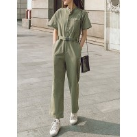 Women HOLA SARA Solid Casual Sweety Cotton-blend Pockets Jumpsuit 85% Cotton 15% Polyester 10JU49BB61 YOMGYPC