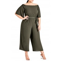 Women Off the Shoulder Jumpsuit Comfortable and elegant Khaki Dark VHQSOWH