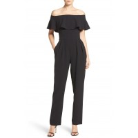 Women Ruffle Jumpsuit Comfortable and elegant Black TPZYMZT