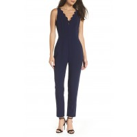 Women Scallop Neck Jumpsuit Comfortable and elegant Navy HHZYIPZ