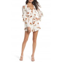 Women Silverlake Floral Ruffle Romper Comfortable and elegant Rust Field Flowers EMDTFEM