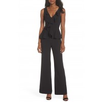 Women Sleeveless Peplum Jumpsuit Comfortable and elegant Black YPRAXAV