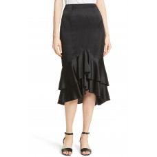 Women Anissa Silk Satin Ruffle Skirt Comfortable and elegant more temperament Black BRDEOWN