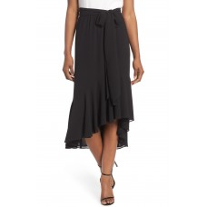 Women Asymmetrical High/Low Flounce Skirt Comfortable and elegant more temperament Black DSOYXWW