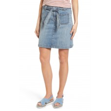 Women Belted Stretch Denim Skirt Comfortable and elegant more temperament Galactic Wash WKSLTZU