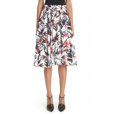 Women Bird of Paradise Print Cotton Poplin Skirt Comfortable and elegant more temperament Chalk Multi TOPQHOC