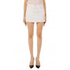 Women Bonny Mid Rise Cutoff Denim Miniskirt Comfortable and elegant more temperament White UUEOEZP