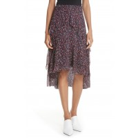 Women Brigida Tiered Print Silk Skirt Comfortable and elegant more temperament Midnight NNVTBJU