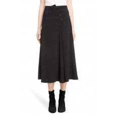 Women Button Detail A-Line Skirt Comfortable and elegant more temperament Black ZIIAJQY