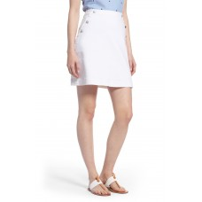 Women Button Detail Denim Skirt Comfortable and elegant more temperament White XYQYNCX