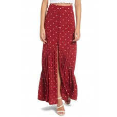 Women Button Front Ruffle Maxi Skirt Comfortable and elegant more temperament Red Grape Dot UTPWKPL