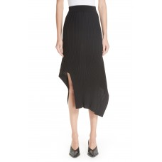 Women Draped Rib Knit Skirt Comfortable and elegant more temperament Black FAAWWJR