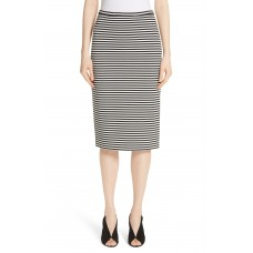 Women Egoista Stripe Pencil Skirt Comfortable and elegant more temperament Silver EHXWNRM