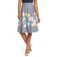 Women Floral & Stripe A-Line Skirt Comfortable and elegant more temperament Navy DEMBJOO