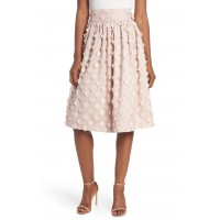 Women Flower Texture Gathered Skirt Comfortable and elegant more temperament Blush YKDQCLS