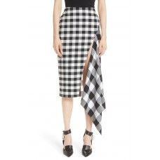 Women Gingham Slash Detail Wool Blend Gingham Skirt Comfortable and elegant more temperament Black/ White SKKGOIY