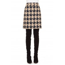 Women Houndstooth Jacquard Skirt Comfortable and elegant more temperament Black/ Caramel CUHCJEU