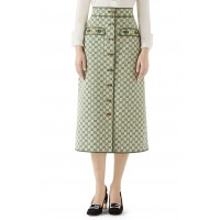 Women Leather Trim GG Canvas Skirt Comfortable and elegant more temperament Green EHZWRPH