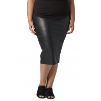 Women Sillaro Faux Leather Pencil Skirt Comfortable and elegant more temperament Black UQZTFKT