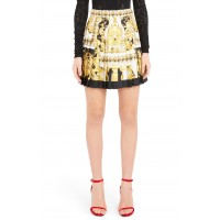 Women Stamp Print Pleated Silk Skirt Comfortable and elegant more temperament Yellow JWLGUVF