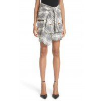 Women Twist Front Detail Tweed Skirt Comfortable and elegant more temperament Black And White HHFKKGH
