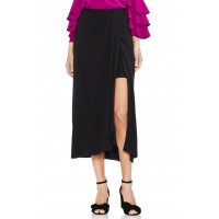 Women Twist Tie Front Maxi Skirt Comfortable and elegant more temperament Rich Black BLYTLBA