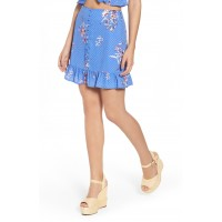 Women Vanessa Ruffle Hem Skirt Comfortable and elegant more temperament Blue PDYFMNU