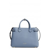 Women Medium Banner House Check Leather Tote Comfortable and elegant Slate Blue LPBEBUH