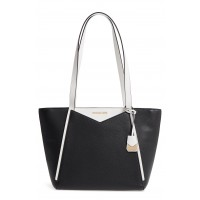 Women Small Whitney Leather Tote Comfortable and elegant Black/ Optic White SKWPRAL