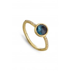 Women 'Jaipur' Tourmaline & Pavé Diamond Stackable Ring Comfortable and elegant Yellow Gold/ Blue Topaz GQOREFO
